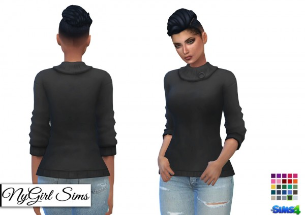 NY Girl Sims: Collared Sweater with Button