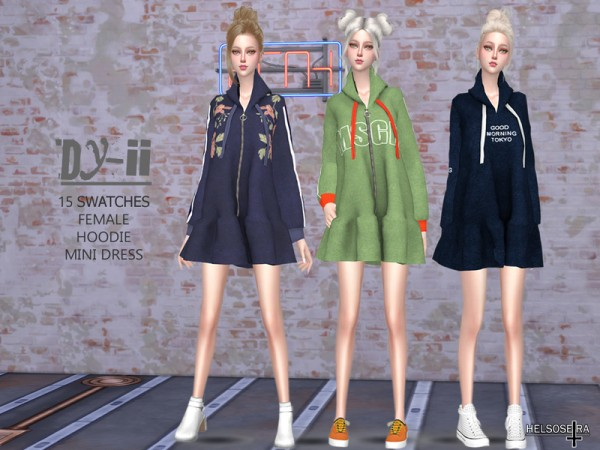 The Sims Resource: DYII Hoodie Mini Dress by Helsoseira