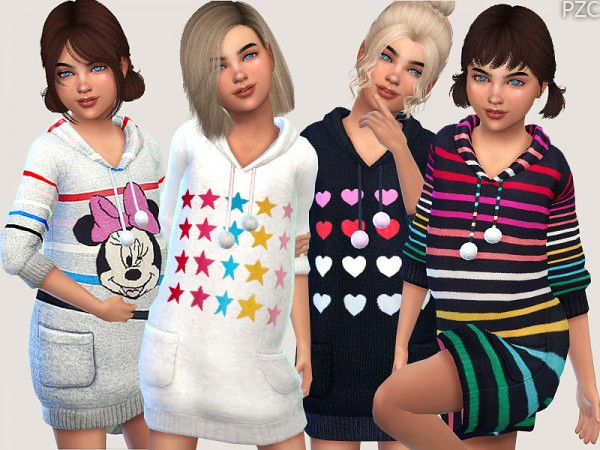 The Sims Resource: Winter Hoodie Sweater Dress by Pinkzombiecupcakes