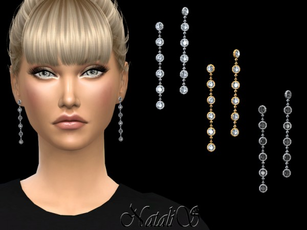 The Sims Resource: Round crystals long drop earrings by NataliS