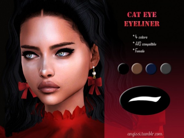 The Sims Resource: Cat Eye Eyeliner by ANGISSI
