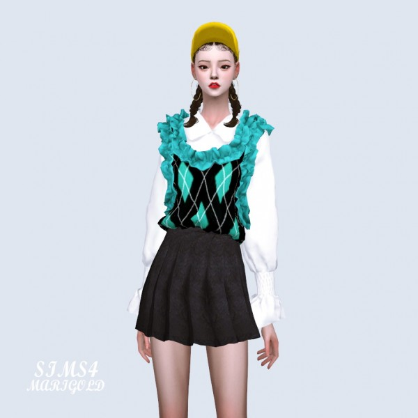 SIMS4 Marigold: Frill Vest With Blouse
