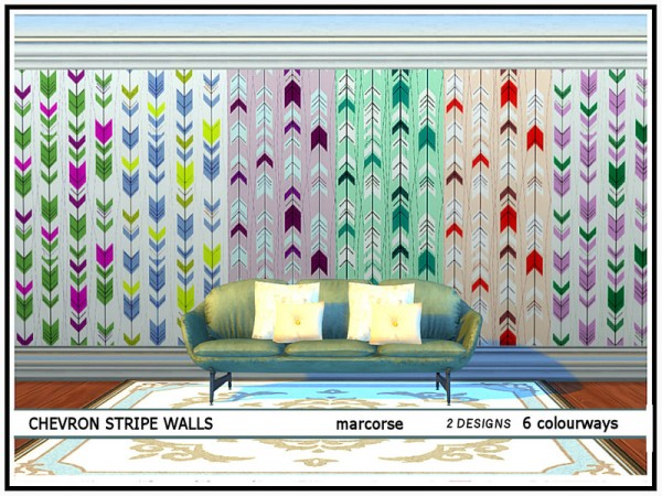 The Sims Resource: Chevron Stripe Walls by marcorse
