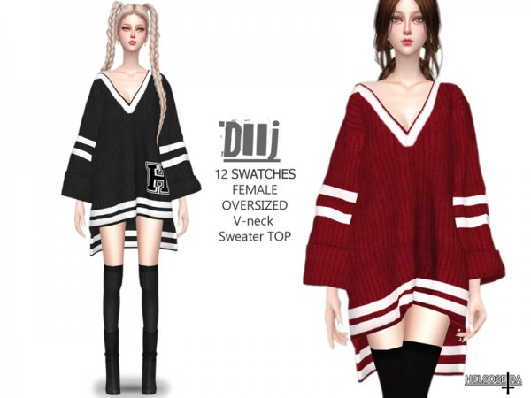 The Sims Resource: DIIJ   Oversized Sweater Top by Helsoseira