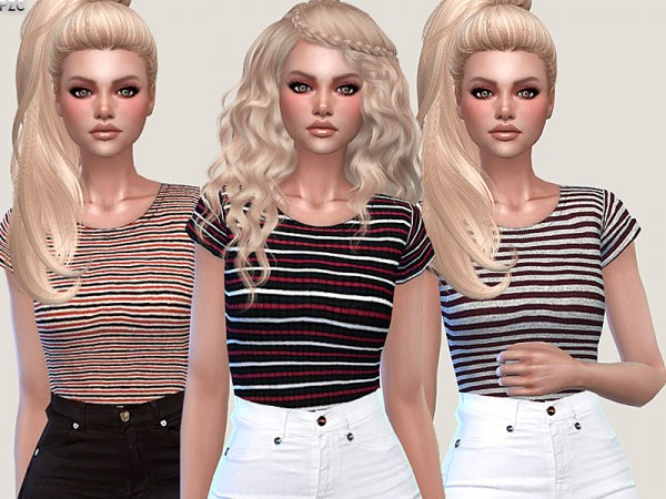 The Sims Resource: Striped Casual and Sporty Tees by Pinkzombiecupcakes