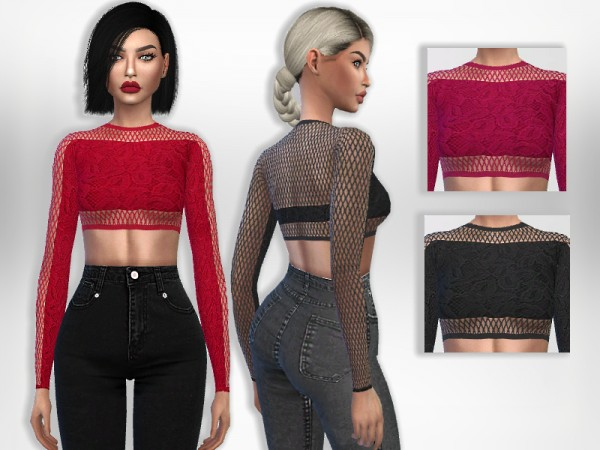 The Sims Resource: Fishnet Top by Puresim