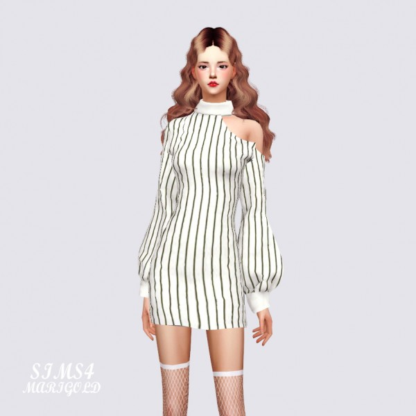 SIMS4 Marigold: Collarbone Mini Dress