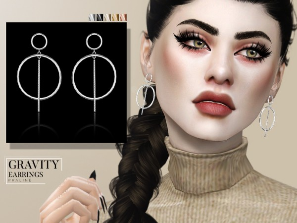 The Sims Resource: Gravity Earrings by Pralinesims