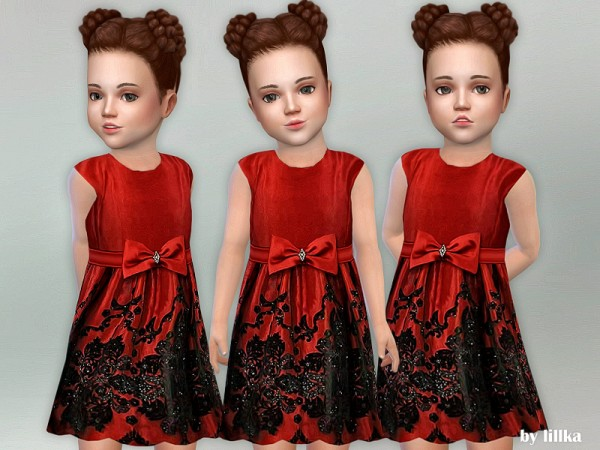 The Sims Resource: Red Bow Toddler Dress by lillka