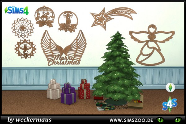Blackys Sims 4 Zoo: Xmas Wall Tattoos 1 by weckermaus