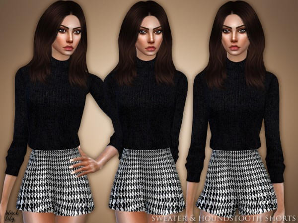 The Sims Resource: Sweater and Houndstooth Shorts by Black Lily