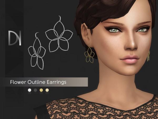 The Sims Resource: Flower Outline Earrings by DarkNighTt