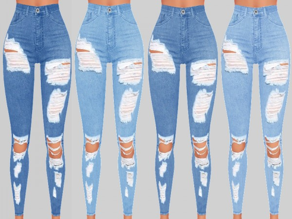 The Sims Resource: Sunset Denim Ripped Jeans 017 by Pinkzombiecupcakes