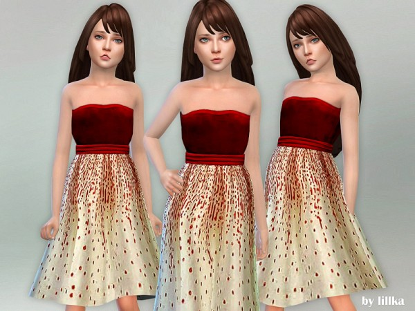 The Sims Resource: Velvet Party Dress by lillka