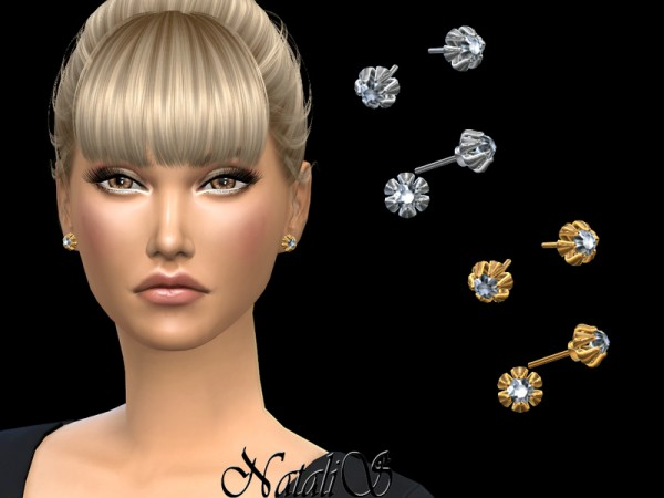 The Sims Resource: 6 Prong diamond stud earrings by NataliS