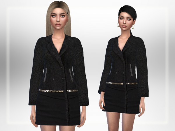 The Sims Resource: Chic Black Coat by Puresim