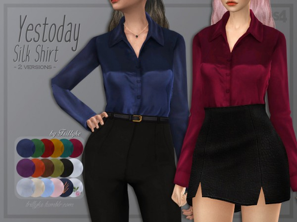The Sims Resource: Yestoday Silk Shirt by Trillyke
