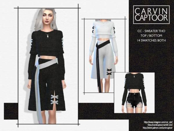 The Sims Resource: Sweater tho top by carvin captoor
