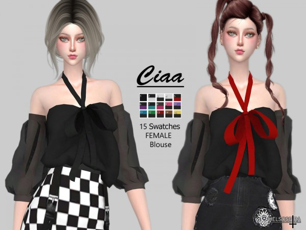 The Sims Resource: CIAA   Off Shoulder Blouse by Helsoseira