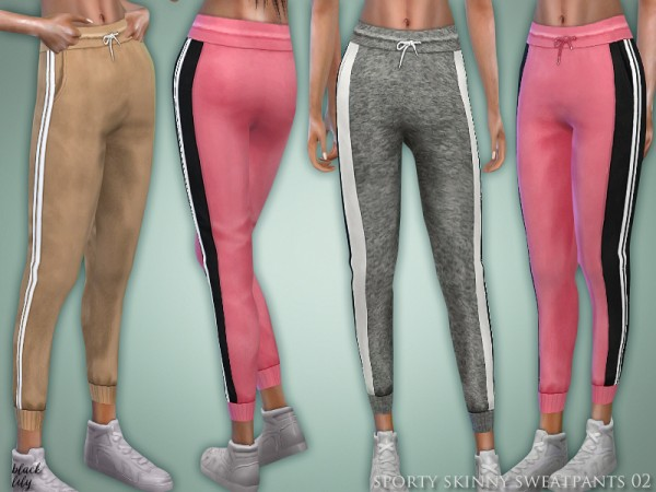 The Sims Resource: Sporty Skinny Sweatpants 02 by Black Lily