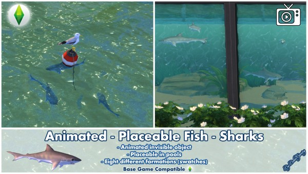 Mod The Sims: Animated Placeable Fish Sharks by Bakie
