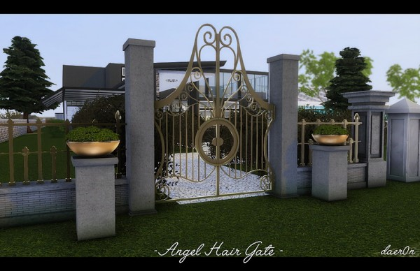 Blooming Rosy: Angel Hair Fence, Gate and Regal Rock Planter
