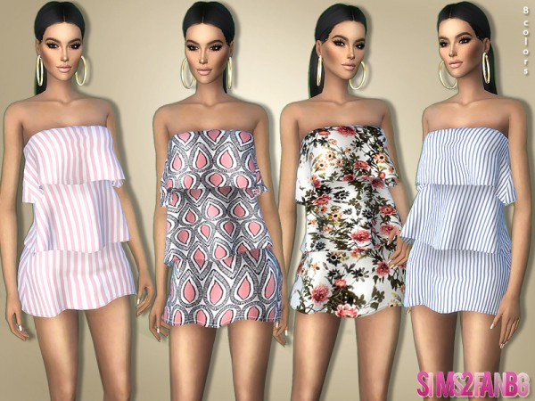 The Sims Resource: Tiered Mini Dress 366 by sims2fanbg