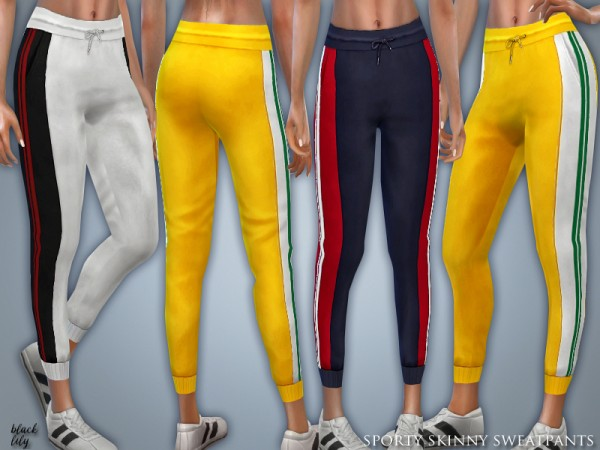 The Sims Resource: Sporty Skinny Sweatpants by Black Lily