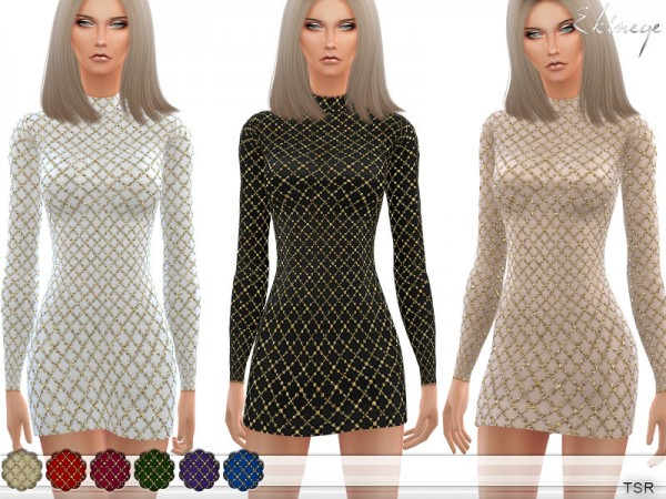 The Sims Resource: Lattice Sequin Mini Dress by ekinege