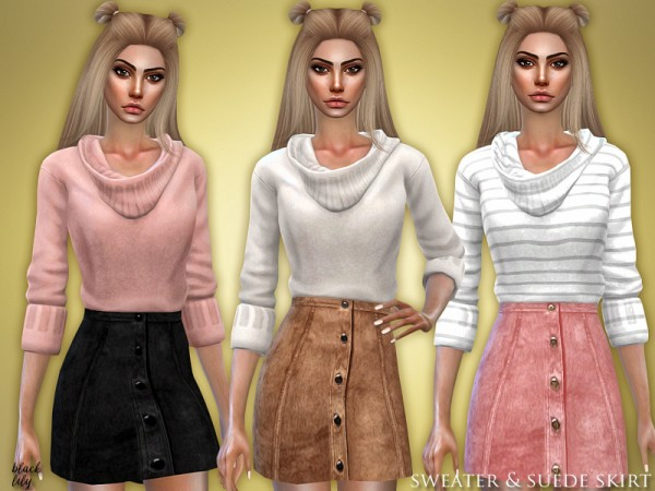 The Sims Resource: Sweater and Suede Skirt by Black Lily