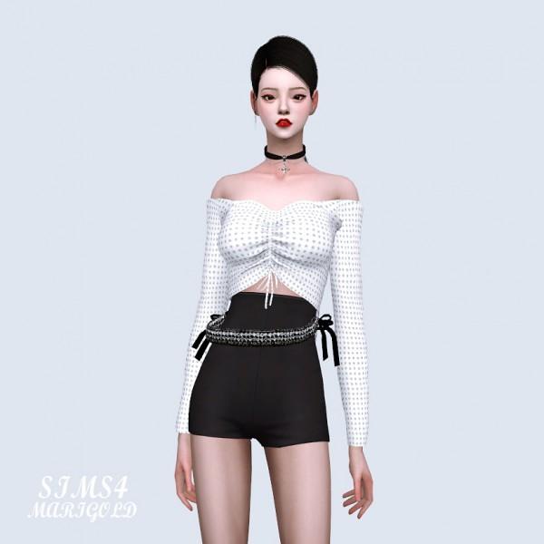 SIMS4 Marigold: Shirring Off Shoulder Top