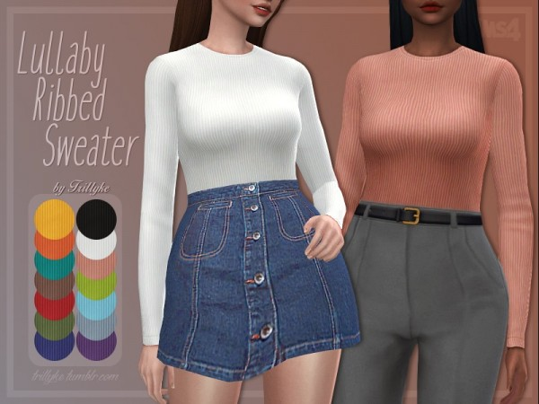 The Sims Resource: Lullaby Ribbed Sweater by Trillyke