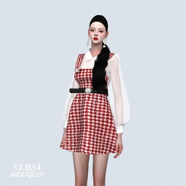 SIMS4 Marigold: See Through Blouse With Dress