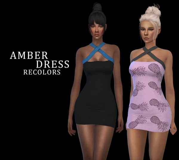 Leo 4 Sims: Amber Dress Recolored