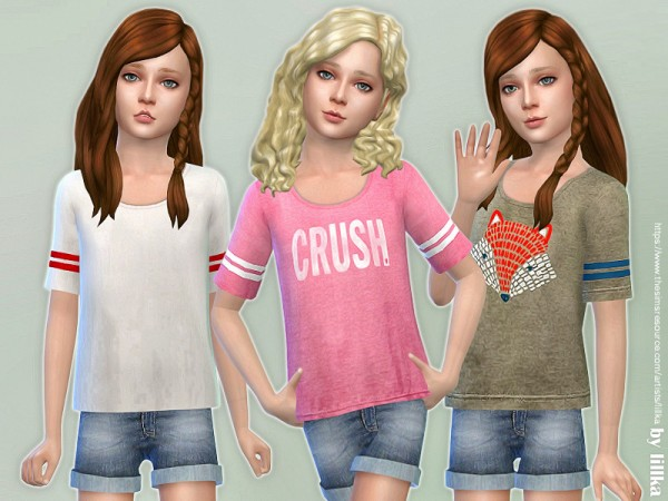 The Sims Resource: Casual Tee for Girls by lillka
