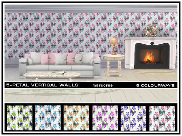 The Sims Resource: 5 Petal Vertical Walls by marcorse