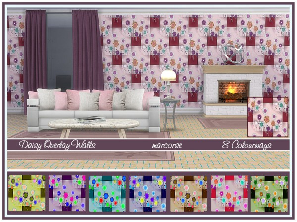 The Sims Resource: Daisy Overlay Walls by marcorse