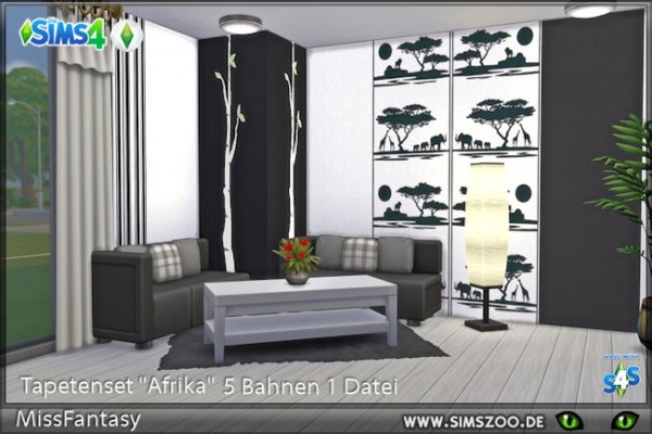 Blackys Sims 4 Zoo: Afrika walls set by MissFantasy
