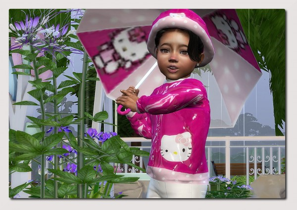 Sims4 boutique: Hello Kitty Rain Outfit for little Toddler Girls