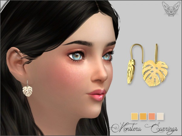 The Sims Resource: Monstera Earrings For Kids by feyona