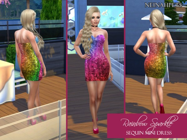 The Sims Resource: Rainbow Sparkle Sequin Mini Dress by neinahpets