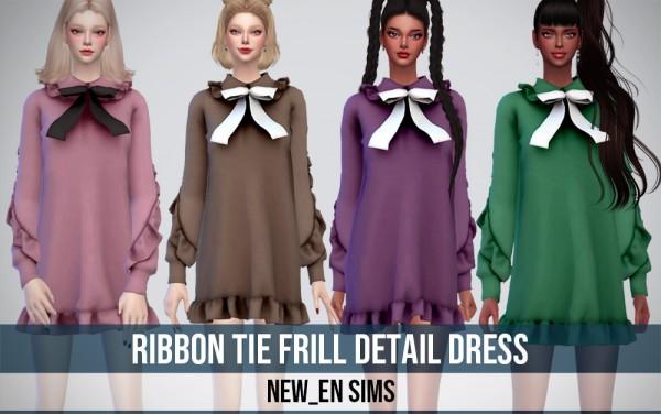 Newen: Ribbon Tie Frill Detail Dress