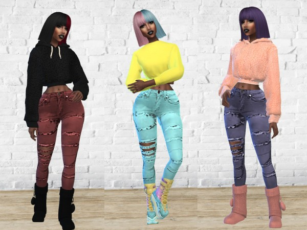 The Sims Resource: Pop Ripped Jeans byTeenageeaglerunner