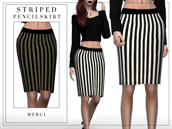 The Sims Resource: Striped Pencil Skirt by Merci