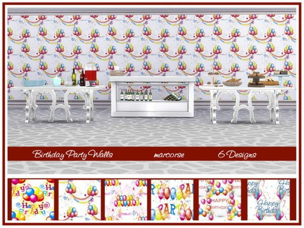 The Sims Resource: Birthday Party Walls by marcorse