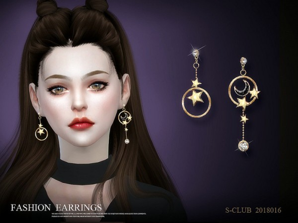 The Sims Resource: Earring 201816 by S Club