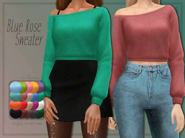 The Sims Resource: Blue Rose Sweater by Trillyke
