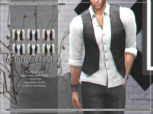 The Sims Resource: Classic Leather Vest by sugar owl
