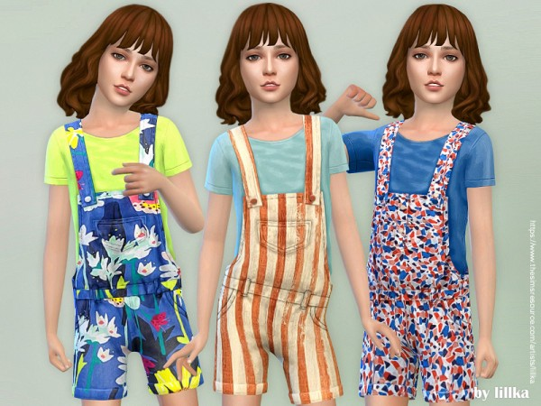 The Sims Resource: Printed Shorts Overall 04 by lillka