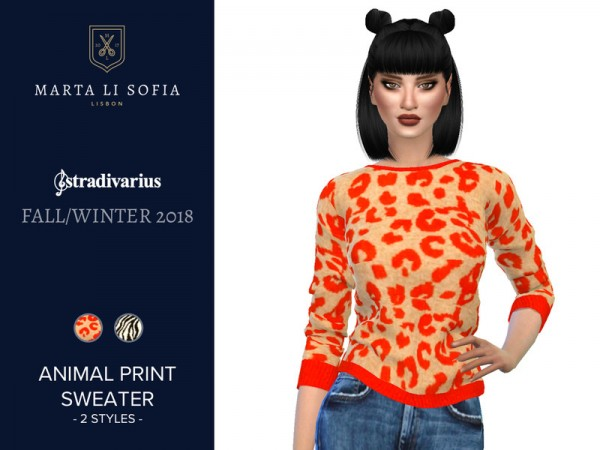 The Sims Resource: Animal Print Sweater by martalisofia